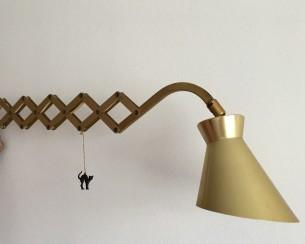 Vintage schaarlamp in goudkleur